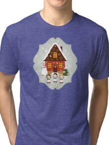 Little Carolers Christmas Card - Holiday Saying Tri-blend T-Shirt