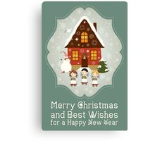 Little Carolers Christmas Card - Holiday Saying Canvas Print