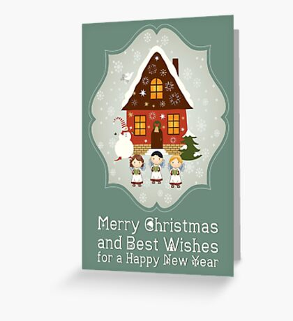 Little Carolers Christmas Card - Holiday Saying Greeting Card