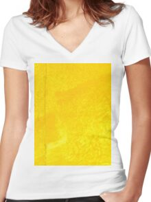 Painted Yellow Texture Women's Fitted V-Neck T-Shirt