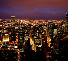 Chicago at Night by Tim Ray