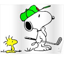 Snoopy on golf Poster