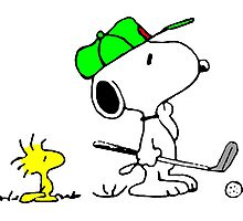 Snoopy on golf Photographic Print