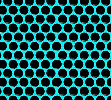 Aqua Black Dot Grid  by Sookiesooker