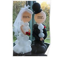 Wedding Humour Balloon Bride and Groom Poster