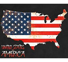 USA Map with flag Photographic Print