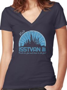 Visit (blue) Women's Fitted V-Neck T-Shirt