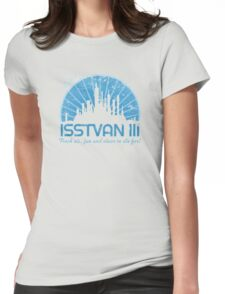 Visit (blue) Womens Fitted T-Shirt