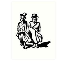 Two men walking Art Print