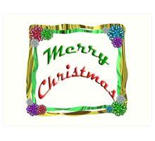 Merry Christmas Holiday Greeting Ribbon and Bows Border Art Print