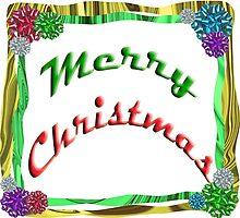 Merry Christmas Holiday Greeting Ribbon and Bows Border by Adri Turner