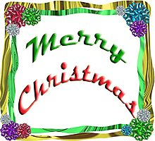 Merry Christmas Holiday Greeting Ribbon and Bows Border Photographic Print