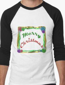 Merry Christmas Holiday Greeting Ribbon and Bows Border Men's Baseball ¾ T-Shirt