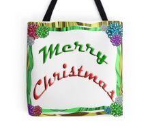 Merry Christmas Holiday Greeting Ribbon and Bows Border Tote Bag
