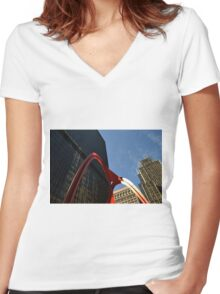 Chicago Flamingo Women's Fitted V-Neck T-Shirt