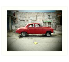 Red Car in Cojimar Art Print