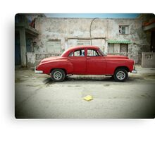 Red Car in Cojimar Canvas Print