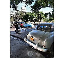 Taxis Near El Capitolio Photographic Print