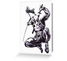 Deadpool Comic Book Drawing.  Greeting Card