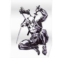 Deadpool Comic Book Drawing.  Poster