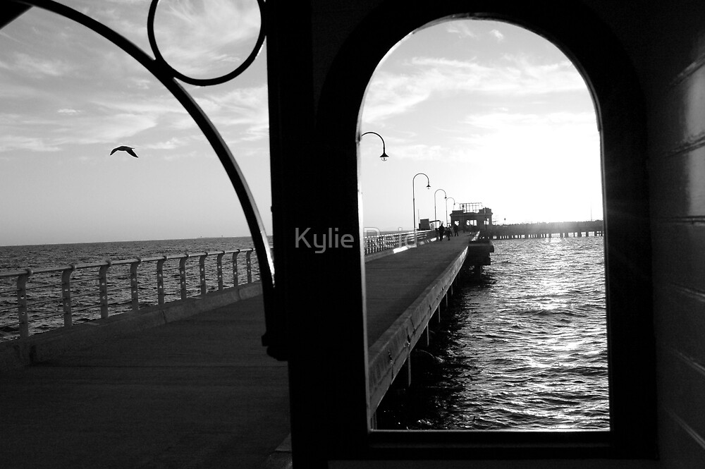 St Kilda Pier (in black &white) by Kylie Reid