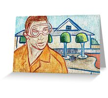 Man with Safety Goggles in Front of Well-Maintained Home Greeting Card