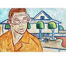 Man with Safety Goggles in Front of Well-Maintained Home Photographic Print