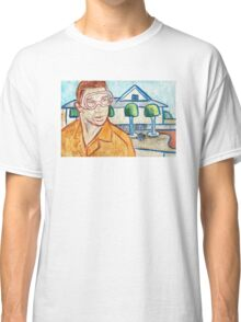 Man with Safety Goggles in Front of Well-Maintained Home Classic T-Shirt