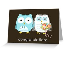 Owls Wedding Bride and Groom Greeting Card