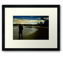 Mulling over - beach walk. Framed Print