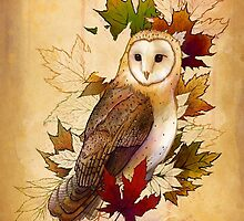 Autumn Barn Owl and Maple Leaves by TaylorRoseArt