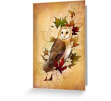 Autumn Barn Owl and Maple Leaves Greeting Card