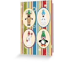 Winter Friends Pattern Greeting Card