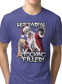 Zombie Christmas Stocking Filler Tri-blend T-Shirt