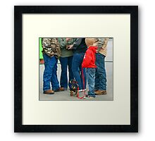 Kids and Puppies...and Blue Jeans Framed Print