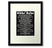 Gibbs' Rules - White Version Framed Print