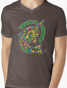 Narwhal Believes in You Mens V-Neck T-Shirt
