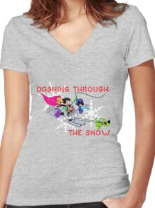 Teen Titans Christmas Women's Fitted V-Neck T-Shirt