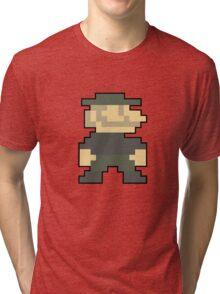 8 bit Mario Emblem Tri-blend T-Shirt