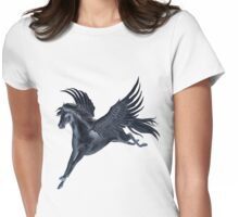 Black Pegasus Flying Womens Fitted T-Shirt