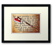Buffy Slayer Scythe Framed Print