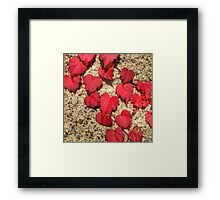 Cute Heart-Shaped Red Fall Leaves Framed Print