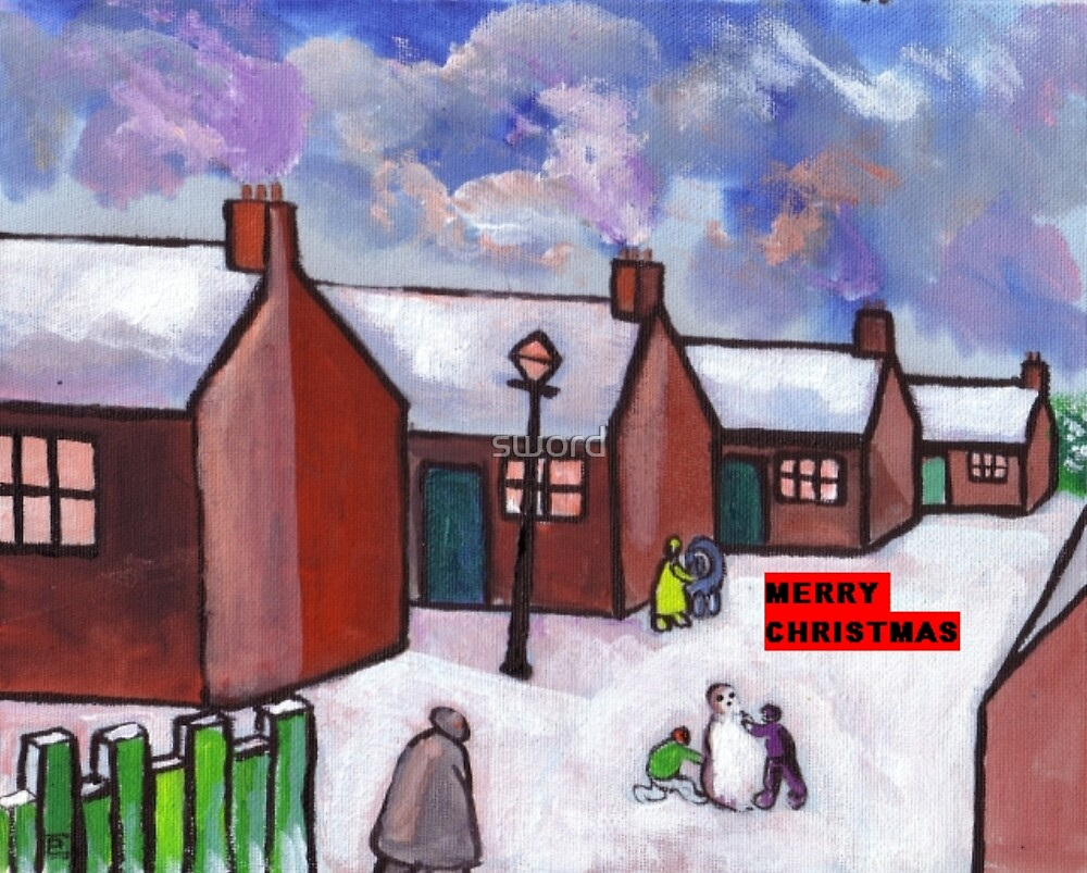 Snowscene merry christmas card (from my original acrylic painting) by sword