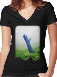 The Great Blue Hand Women's Fitted V-Neck T-Shirt