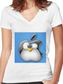 Linux Apple Women's Fitted V-Neck T-Shirt