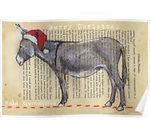 Donkey Christmas card Poster