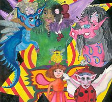 A bunch of Fairy Folk trapped in a frame by chantelle hartley