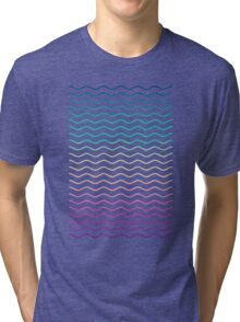 Abstract Geometric  Candy / Rainbow Waves Pattern (Multi Color) Tri-blend T-Shirt