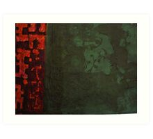 Green and Red Monotype Art Print