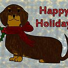 Happy Holidays Dachshund by merrywrath